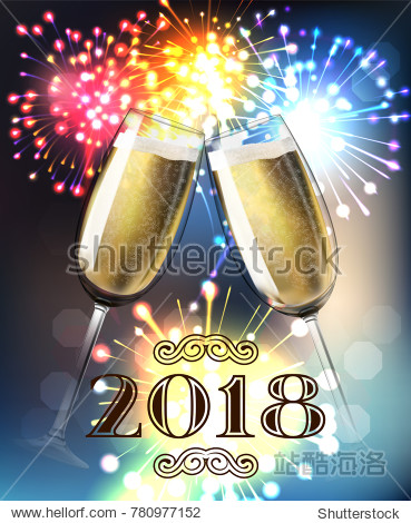 2018 New Year Midnight shining background with toasting champagne glasses with fireworks background. Blur flare banner with two glass. Vector stock illustration.