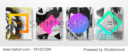 Abstract Fluid creative templates  cards  color covers set. Geometric design  liquids  shapes. Trendy vector collection.