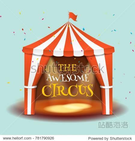 Circus tent poster. Circus retro invitation event. Fun carnival vector illustration. Amusement performance.