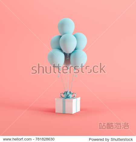 White gift box with blue ribbon and balloon on pink background. minimal christmas newyear concept.