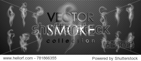 Smoke vector collection  isolated  transparent background. Set of realistic white smoke steam  waves from coffee tea cigarettes  hot food ... Fog and mist effect.