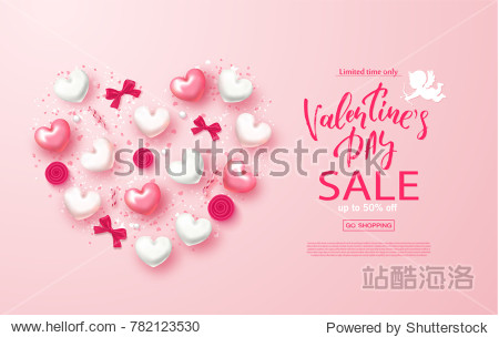 Valentines day sale banner. Beautiful Background with Hearts   bows  roses and serpentine. Vector illustration for website   posters  email and newsletter designs  ads  coupons  promotional material.