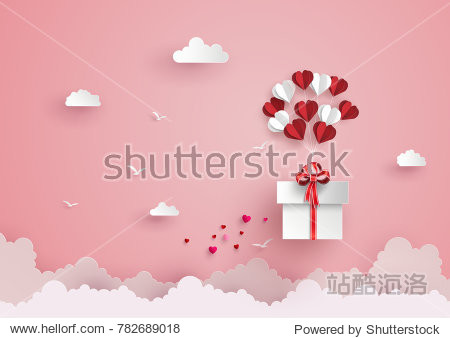 Illustration of love and valentine day  balloon heart shape hang the  gift box float on the sky.paper art style.