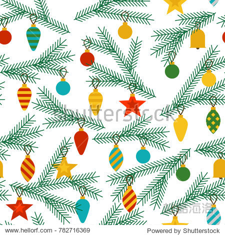 New Year`s holiday seamless pattern with Christmas tree branches decorated with balls  stars  cones on a white background. Vector illustration