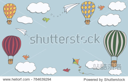 Vector banner with hot air baloons flying in the sky with place for your text  vector frame