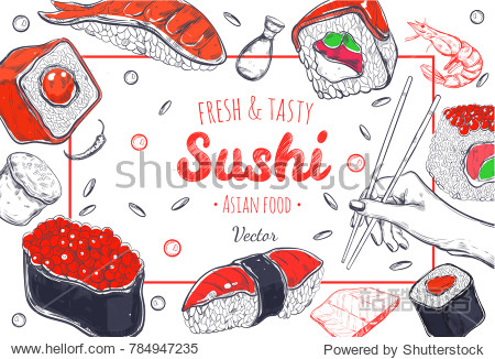 Asian Food poster. Vector hand drawn. Sushi menu cover