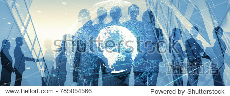 Global business concept. Silhouette of business people.