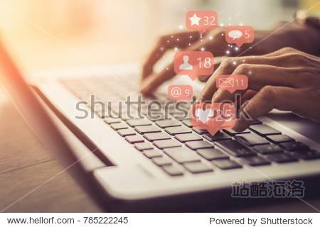 Businesswoman laptop using ,Social, media, Marketing concept.