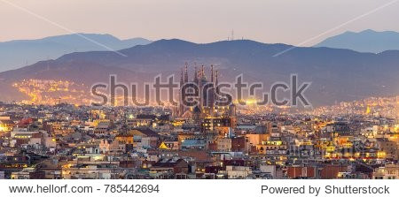 Aerial Panorama view of Barcelona city skyline and Sagrada familia at dusk time Spain