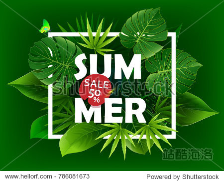 Exotic tropical leaf background in vector for invitation greeting template of Summer