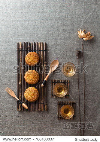 Mid autumn festival food and drink  objects on texture background.