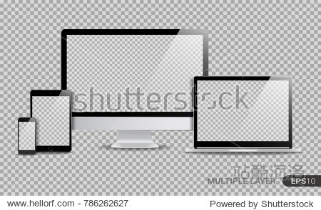 Realistic Computer  Laptop  Tablet and Smartphone with Blank Wallpaper Screen Isolated on Transparent Background. Set of Device Mockup Separate Groups and Layers. Easily Editable Vector.