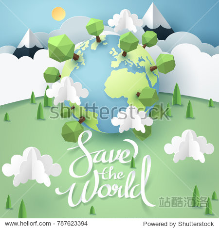 Paper art and origami of Earth with save the world calligraphy hand lettering  world sustainable environment friendly idea  vector art and illustration.