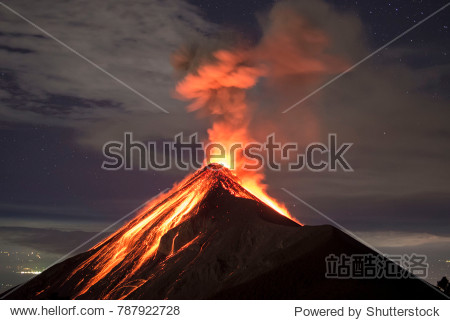 Lava going down the Volcano Fuego in Antigua  Guatemala  right after an eruption.