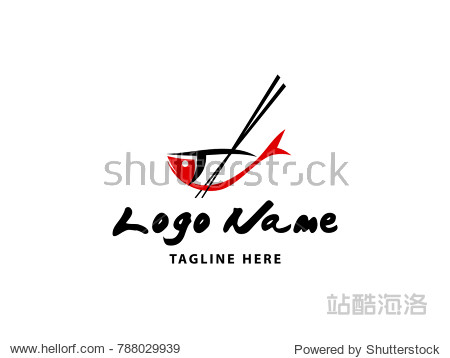 Simple sushi logo with combining fish and chopsticks as main element. Suitable for food and drink business.