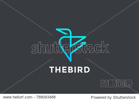 Geometric Calibri Bird abstract Logo design vector template Linear style. Technology Internet Web Business Logotype concept icon.