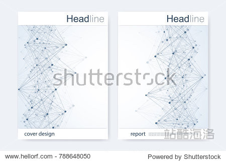 Scientific brochure design template. Vector flyer layout  Molecular structure with connected lines and dots. Scientific pattern atom DNA with elements for magazine  leaflet  cover  poster design