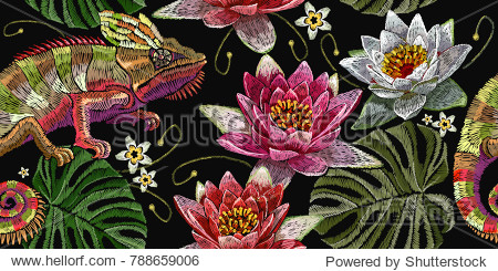 Embroidery chameleon and water lilies seamless pattern