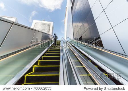 Escalator installed outdoors