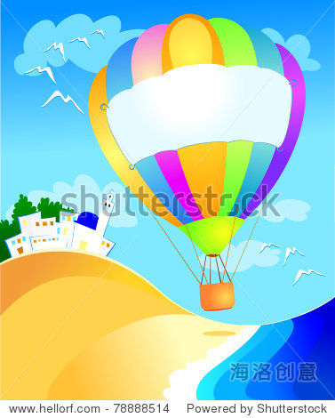 Balloon with sign over the sea  vector