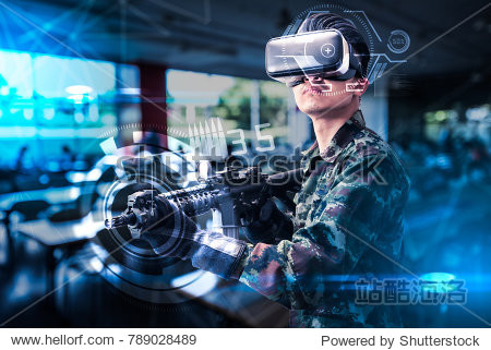 The abstract image of the soldier use a VR glasses for combat simulation training overlay with the hologram. the concept of virtual hologram  simulation  gaming  internet of things and future life.