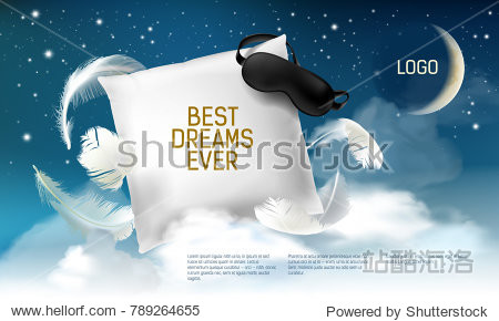 Vector illustration with realistic 3d square pillow with blindfold on it for the best dreams ever  comfortable sleep. Soft cushion. Relaxation  sleeping concept. Night  clouds  stars background.