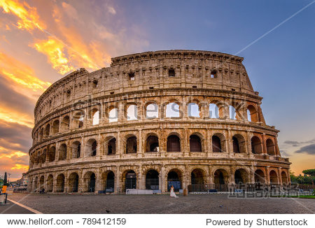 Sunrise view of Colosseum in Rome  Italy
