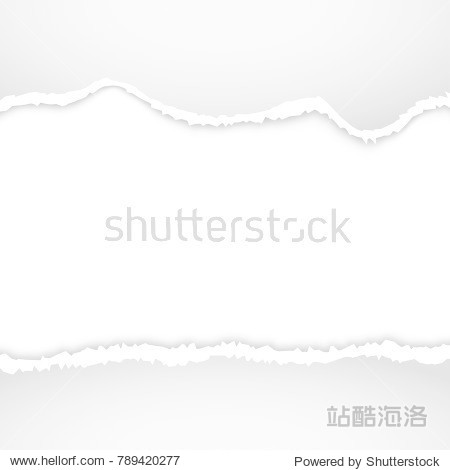 Torn paper vector background. Ripped edge design of torn paper illustration or banner with shadow