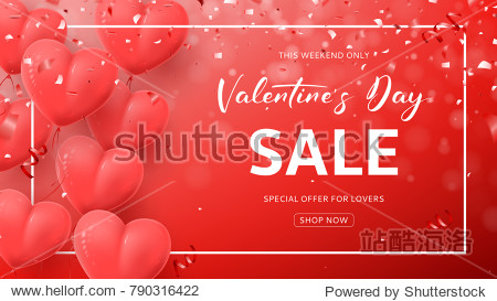 Red Promo Web Banner for Valentine's Day Sale. Beautiful Background with Realistic Air Balloons in the Form of Heart. Vector Illustration  with Confetti and Serpentine.