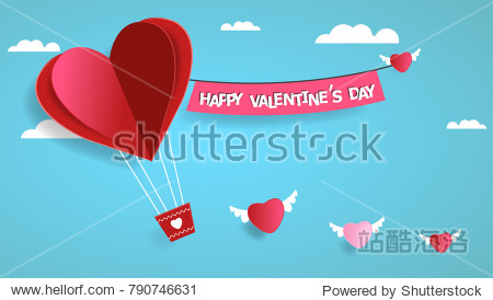 Happy valentines day. Heart on sky background. Vector illustration.