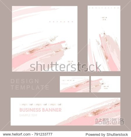 Corporate identity template for company. Invitation to a company event. Cover product catalog. Business card. Brush strokes in gentle pastel colors on a white background.