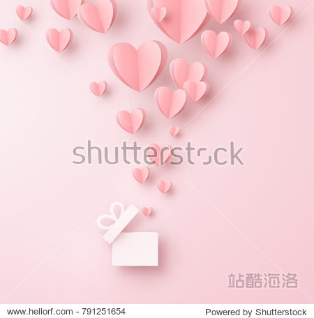 Valentines hearts with gift box postcard. Paper flying elements on pink background. Vector symbols of love in shape of heart for Happy Women's  Mother's  Valentine's Day  birthday greeting card design