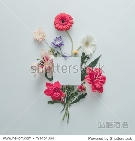 Creative layout made of various flowers with copy space. Flat lay bouquet. Love concept.