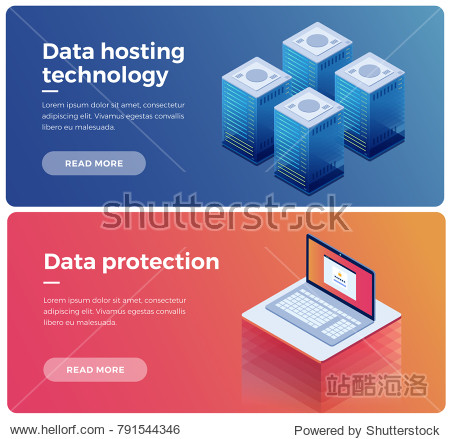 Banner. Internet equipment industry. Data transmission technology and data protection. Illustration of network telecommunication server. Protecting your personal information. 3d isometric flat design.