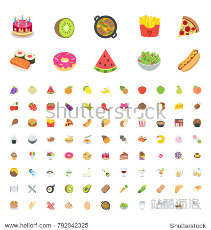 Food and beverages  fruits  vegetables  fast foods  cakes  restaurant  cafe vector illustration flat icons  symbols  emoticons  stickers