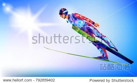 silhouette of a triangle athlete jumping from a springboard on skis