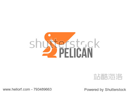 Pelican bird Logo abstract design vector template.