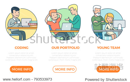Linear flat page web design template infographics website icons thin line vector illustration. Coding  portfolio  team  programmer. Business team concept.