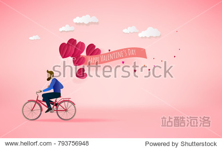 A man riding bicycle  and holding red heart balloons. Love concept. Happy Valentine's Day wallpaper  poster  card. Vector illustration