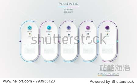 Vector Infographic 3d circle label  template design. Business concept  Infograph with number 5 options  step or processes. Infographic element for layout process diagram parts chart graphic info graph
