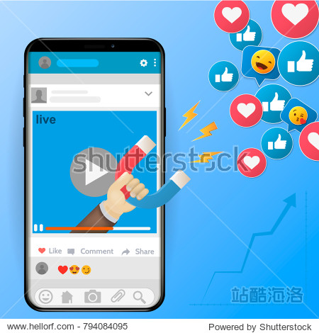 Digital advertising ads social media online marketing. vector illustration concept The powerful of influencer marketing is like the magnetic field that drags customer like icon into the business
