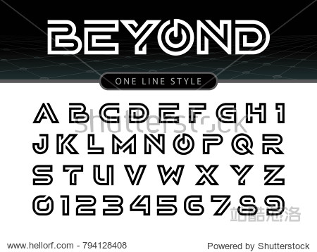 Vector of Futuristic Alphabet Letters and numbers  One linear stylized rounded fonts  One single line for each letter  Black Letters set for sci-fi  military.