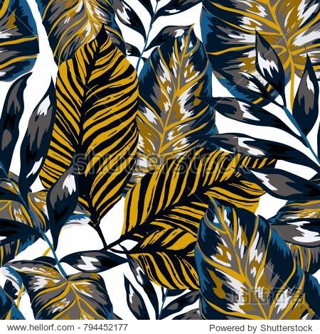 Watercolor seamless pattern with tropical leaves: palms  monstera  passion fruit. Beautiful allover print with hand drawn exotic plants. Swimwear botanical design. Vector.