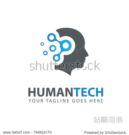 Man Head logo. Abstraction of thinking mind. This image serves as idea of technology  mind  working think  memory training  brain system  psychology  knowledge and research.