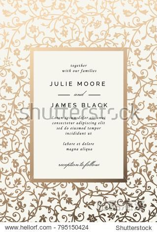 Vintage Wedding Invitation template with golden floral background. Vector illustration