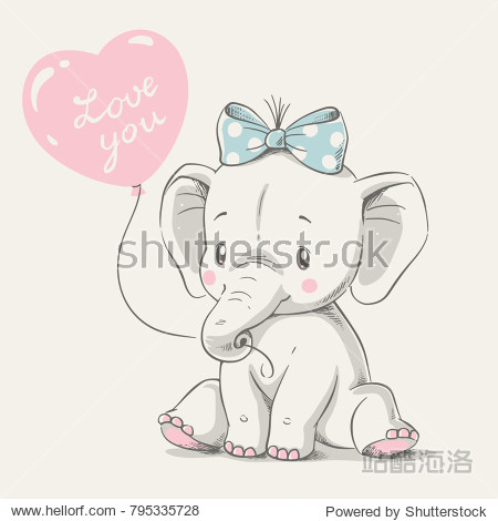 Cute elephant with balloon hand drawn vector illustration. Can be used for t-shirt print  kids wear fashion design  baby shower invitation card.