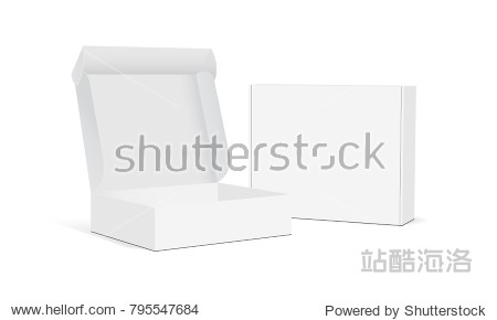 Two blank packaging boxes - open and closed mockup  isolated on white background. Vector illustration