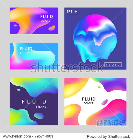 Colorful Abstract Gradient Blurs Set. Trendy Abstract colorful gradient shapes on dark background. For web design  Presentation  Cover