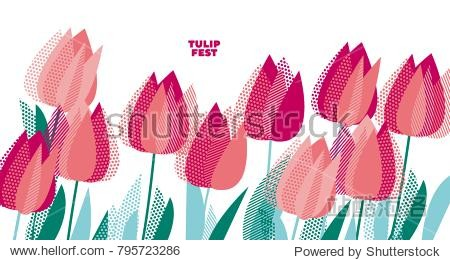 Abstract modern vivid floral motif for surface design. Cool spring pattern with geometric decorative pink tulip flowers  design elements.