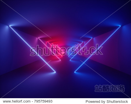 3d render  laser show  night club interior lights  glowing lines  abstract fluorescent background  corridor